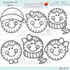 Pan de jengibre enfrenta a Linda Navidad sellos por JWIllustrations
