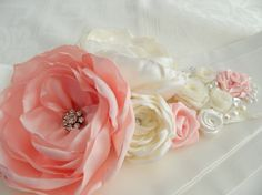 Coral ivory flower girl belt