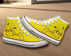 Pikachu Converse Shoes by BifrostShoes on Etsy, $75.00