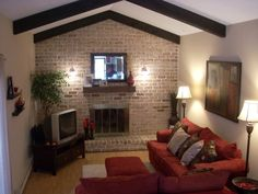 Image detail for -Family room, Long narrow family room open to kitchen. Fireplace and ...