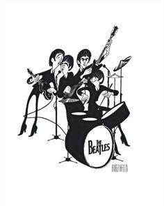 Al Hirschfeld -- The Beatles