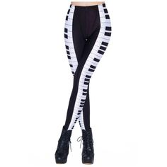 Black and White Keyboard Print Elastic Leggings ($9.16) ❤ liked on Polyvore…