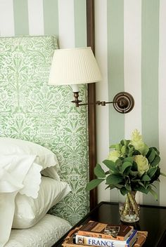 Gorgeous green cottage bedroom with white and green vertical striped walls and white and green flocked fabric upholstered headboard with soft white bedding. Architectural Digest, Home Bedroom, Modern Bedroom, Bedroom Decor, Master Bedroom, Design Bedroom, Bedroom Lamps, Bedroom Lighting, Bedroom Ideas