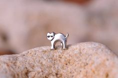 Cat / TINY CAT / Nose Stud / nose ring / - Sterling Silver.. $8.95, via Etsy.