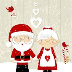Santa and Mrs Claus Royalty Free Stock Vector Art Illustration Etsy Christmas, Christmas Makes, Noel Christmas, Merry Little Christmas, Christmas Crafts, Christmas Stockings, Christmas Ornaments, Christmas Cartoons, Christmas Clipart