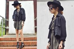 H&M Hat, Topshop Cross Necklace, H&M Sunglasses, Two Way Mac, Thrifted Green Army Button Up Dress, Multi Strap Heeled Gladiators Shoes