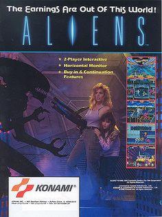 The Arcade Flyer Archive - Video Game Flyers: Aliens, Konami Vintage Video Games, Retro Video Games, Vintage Games, Video Game Art, Retro Games, Aliens, Arcade Games, Saga Alien, Borne Arcade