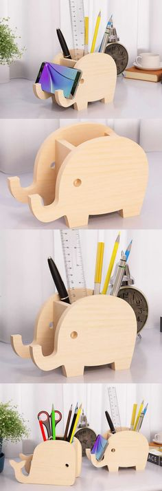 Bamboo Wooden Elephant  Pen Pencil Holder Stand iPhone iPad Smart Phone Holder Dock  Business Card Display Stand Holder Office Desk Supplies Stationary Organizer