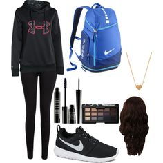 basic school day by jasminea12 on Polyvore featuring polyvore fashion style Under Armour Paige Denim NIKE Minnie Grace Lord & Berry WigYouUp NARS Cosmetics