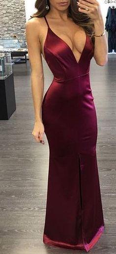 sexy burgundy long prom dress, 2018 deep v neck burgundy mermaid long prom dress with slit, formal evening dress party dress