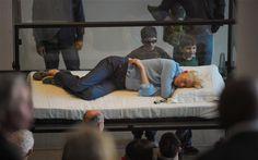 Tilda Swinton is oficially Art. Sleeping in a glass box at MoMA.
