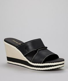 Black Kamala Leather Wedge Sandal - Women