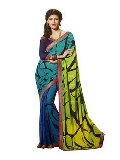 Multi Colour Crepe Designer Printed Saree Buy Apparel
