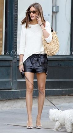 Olivia Palermo | Rebecca Minkoff Mika black leather shorts