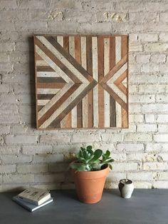Reclaimed Wood Wall Art, Lath, Triangle, Inverted