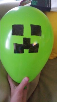 Minecraft Creeper birthday party ballons.As easy as a sharpie marker.