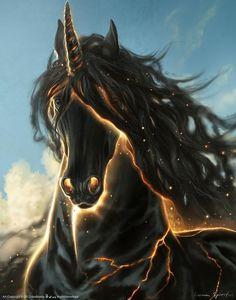 Unique treatment of the unicorn fantasy. Unicorn Fantasy, Magical Unicorn, Unicorn Art, Majestic Unicorn, Unicorn Horse, Magical Creatures, Fantasy Creatures, World Of Fantasy, Fantasy Art