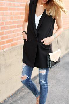Black Sleeveless Coat / Vest