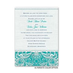 Choose any color you'd like on this lace wedding invitation. Shown here in vibrant teal - so pretty! From Ann's Bridal Bargains.