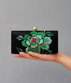 Floral Embroidery Box Clutch Purse - Clamshell Clutch with Vintage Japanese Embroidery