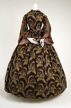 Dress Date: ca. 1850 Culture: American Medium: silk, wool Dimensions: (bodice) Length at CB: 16 in. (40.6 cm) (skirt) Length at CB: 42 1/2 i...