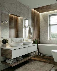 Bathroom Design Luxury, Modern Bathroom Decor, Modern Bathroom Design, Luxury Bathrooms, Design Bedroom, Bathroom Ideas, White Bathroom Cabinets, Bathroom Red, Bathroom Wall