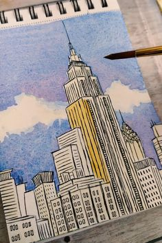 Watercolor Art Lessons, Watercolor Paintings, Watercolour, Art Drawings Beautiful, Art Drawings Sketches Simple, Architecture Drawing Art, Art Painting Gallery, Diy Canvas Art, Cityscape Drawing