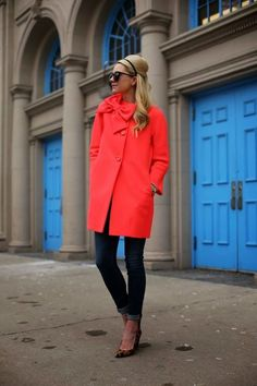 Red coat and leopard pumps