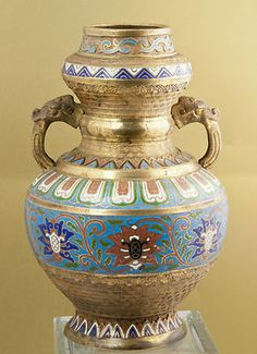 Asian Antique Bronze Cloisonne Enamel Brass Vase | eBay