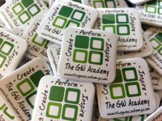 An great way to get your business noticed. 38mm square button pin badges www.quickbadge.co.uk