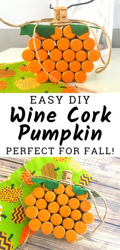 Looking for fun wine cork crafts? This easy wine cork pumpkin craft is one of the perfect wine cork projects for fall, Halloween, and Thanksgiving! Easy Fall Crafts, Easy Arts And Crafts, Winter Crafts For Kids, Easy Crafts For Kids, Thanksgiving Crafts, Fall Diy, Thanksgiving Table, Art Crafts, Thanksgiving Decorations