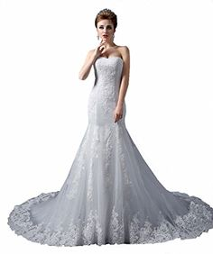 JinXuanYa Womens Jewel Lace Applique Long Sleeve Chapel Train A Line Wedding Dress White 10 white -- Want to know more, click on the image.