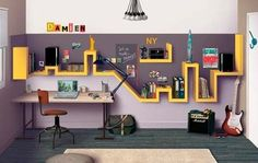 original wall mounted shelf teen room design and furniture ideas Skyline Homes, Nyc Skyline, Diy Casa, Teen Room Decor, Kids Bedroom, Boy Bedrooms, Kids Rooms, Design Case, Shelf Design