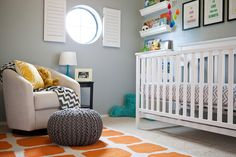 Modern glider paired with ottoman pouf from @Target! #nurserydecor
