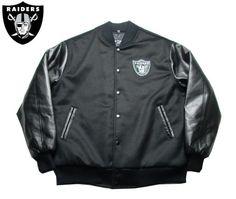 【OAKLAND RAIDERS】【オークランド・レイダース】スタジアム・ジャケット ブラック バックRAIDERS BIGロゴ サイズM-2XL 【アウター】【LA】【jacket】【black】【NFL】【スタジャン】【ヒップホップ】【黒】【フェイクレザー】【合皮】【送料無料】【あす楽】【楽天市場】