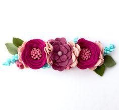 Boho Chic Raspberry Crush Felt Flower Crown