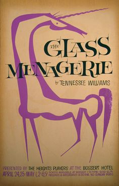 The Glass Menagerie by Tennessee Williams A delicate unicorn frames the title of this well known play. by David Klein c.1958