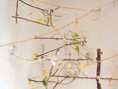 Mein Vogel-Spielplatz mit Ästen, Seilen, selbst-gebastelten Schaukeln+viel mehr