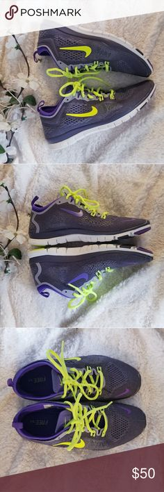 Nike Free 5.0 purple running shoes Excellent used condition. Super clean and ready for a new home! Dark purple mesh with neon yellow green laces and accents.   Re-poshing since unfortunately I need a 9 in these - please let me know if you have them for sa http://feedproxy.google.com/fashionshoes1