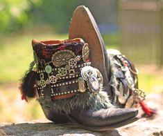Custom Steampunk vintage Black boho upcycled reworked COWBOY boots