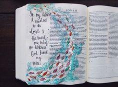 Jonah 2:2 Scripture Doodle, Faith Scripture, Bible Art, Bible Scriptures, Jonah Bible, Bible Drawing, Bible Illustrations, Bible Study Journal, Illustrated Faith