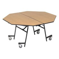 "AmTab Mobile Cafeteria Table - Octagon (60"" Diameter) by AmTab. $491.99. Seat up to eight students comfortably at AmTab's octagon-shaped Mobile Cafeteria Table. The sturdy 14-gauge steel frame rolls smoothly on four 4-inch heavy-duty casters (two locking) that automatically lift off the floor when the table is in use. The durable 3/4-inch thick particleboard tabletop folds down for space-saving storage, and vinyl edge banding protects your table from chipping. Cho..."