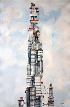 Imaginative Cities by Davide Magliacano http://designwrld.com/babel-imaginative-floating-cities/