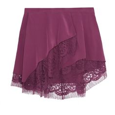 MICHELLE MASON   Wrap-effect lace-trimmed silk mini skirt ($260) ❤ liked on Polyvore featuring skirts, mini skirts, silk wrap skirt, lace trim skirt, wrap skirt and purple skirt