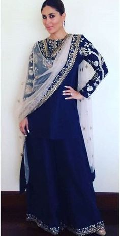 GAYATRI: Navy Crepe Embroidered Kurta & Palazzo worn with Blush Embroidered Tulle Dupatta with Navy Embroidered Border. Indian Attire, Indian Wear, Pakistani Outfits, Indian Outfits, India Fashion, Asian Fashion, Dress Outfits, Fashion Outfits, Indian Look