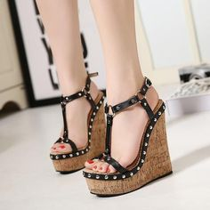 342e35f52db Womens Edgy Ankle Strap Open Toe Wedge Platforms Wedge Shoes