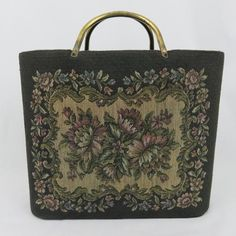 d3f8b25cd29c Vintage Black Floral Tapestry Tote Bag with Brass Handles and Hard Sides