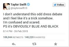 It's blue and black obviously she understands
