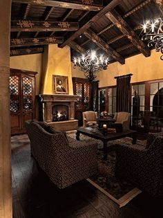 Spanish Colonial Home - Living Room  This is the effect that I don't want. It's too dark and heavy when all/most of the furnishings are dark.