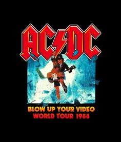 ACDC Blow Up Your Video World Tour 1988 Band T Shirt Graphic Tees is your new tee will be a great gift for him or her. I use only quality shirts such as gildan. Band Shirt Outfits, Band Shirts, Ac Dc, Classic Rock Bands, My Favorite Music, Rock And Roll, Graphic Tees, Santorini, Metallica